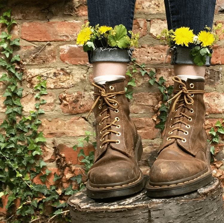 Dandelions tucked into the cuffs of jeans and brown boots