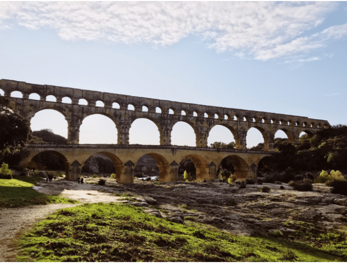 large aqueduct in the countryside of southern France
