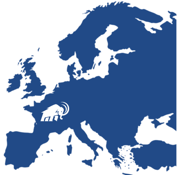 Europe with a mammoth mascot on France
