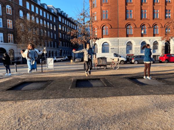 Trampolines in the streets of Copenhagen