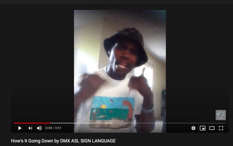 screenshot of DMX ASL sign language youtube video