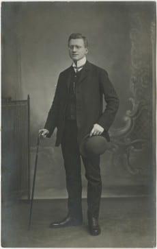 Postcard featuring formal portrait of Karl Loewenstein's brother, Alfred Loewenstein