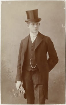 Postcard featuring formal portrait of Karl Loewenstein as a young man, November 18, 1908