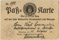 Loewenstein's Bavarian pass (stamped), issued August 12, 1914, Box 1, Folder 3, Karl Loewenstein Collection, Amherst College Archives & Special Collections (accessed July 23, 2013).
