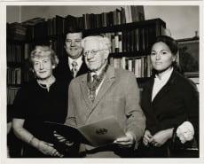Karl Loewenstein receiving German Order of Merit; pictured with Piroska Loewenstein on left