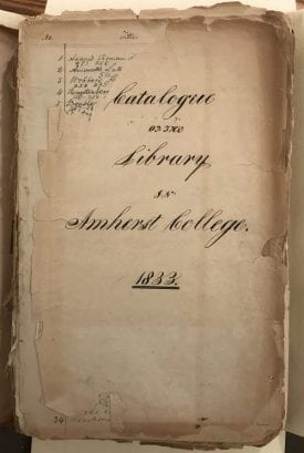 Manuscript title page--Catalog of the Library of Amherst College