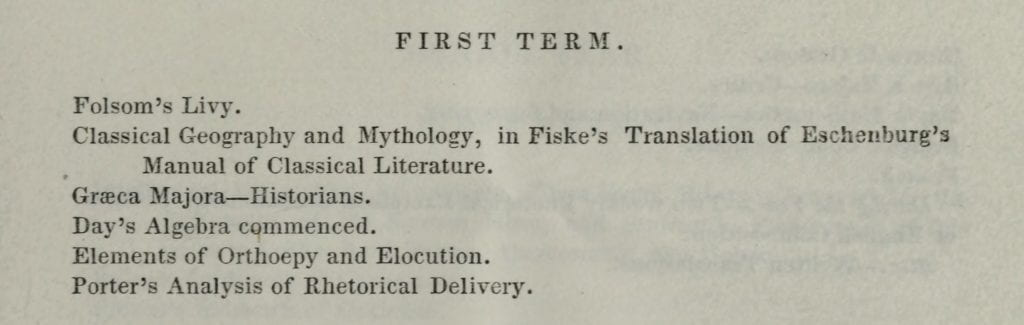 Freshman Courses in 1838