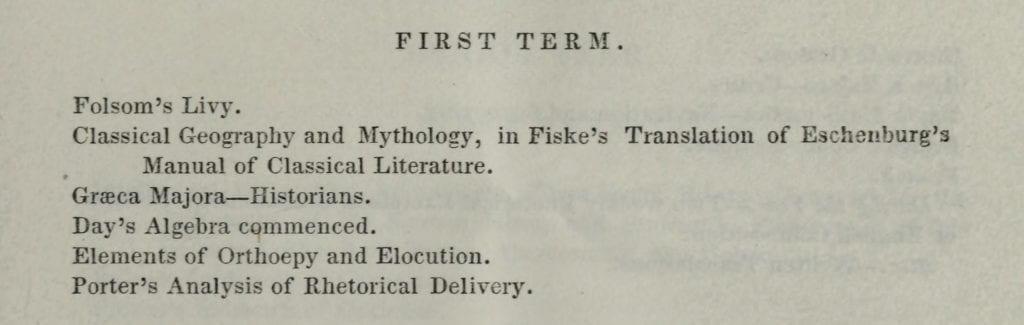 Freshman Courses in 1838