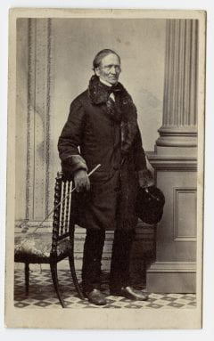 """""""Edward Hitchcock, full-length portrait, facing right, circa 1863."""" Amherst College Digital Collections, Edward Hitchcock, full-length portrait, facing right, circa 1863."""