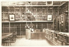 """Lovell, John L., 1825-1903, """"Interior of Morgan Library at Amherst College,"""" Digital Amherst, accessed July 25, 2017, http://www.digitalamherst.org/items/show/215."""