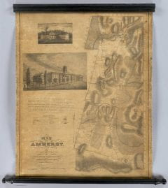 """Adams, Charles B.; Gray, Alonzo, """"A map of Amherst with a view of the College and Mount Pleasant Institution,"""" Digital Amherst, accessed June 16, 2017, http://www.digitalamherst.org/items/show/79."""