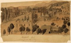 Sepia sketch by Mortimer Blake (AC 1835). Amherst College Archives & Special Collections, Buildings & Grounds Coll., Map Case 1, Drawer 12.