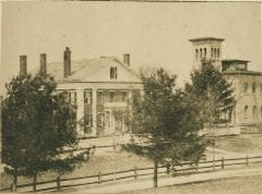 """Lovell, John L., 1825-1903, """"President's House and Morgan Library at Amherst College,"""" Digital Amherst, accessed July 25, 2017, http://www.digitalamherst.org/items/show/224."""