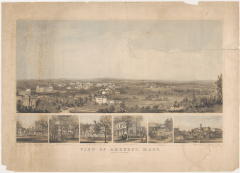 """Bachelder, John. Detail from """"View of Amherst, Mass."""" Lithograph, n.d. Amherst College Archives & Special Collections, Amherst, MA."""