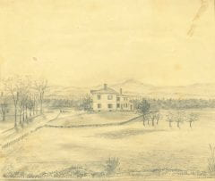 """Orr, Samuel K., """"Pencil sketch of Lincoln Avenue and Northampton Road in Amherst,"""" Digital Amherst, accessed July 25, 2017, http://www.digitalamherst.org/items/show/779."""