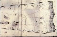 """""""A Plan of the Town of Amherst"""" (E.S. Darling, 1830; detail from original in the Mass. Archives)"""