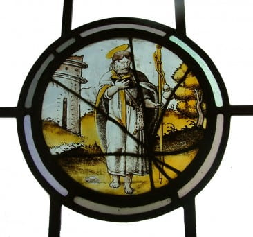 The stained glass panels in the windows are on permanent loan from the Metropolitan Museum of Art, which received them in a bequest from Herbert's brother George D. Pratt (Class of 1893). This 16th century circular panel, either Flemish or German in origin, depicts St. James.