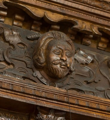 Close examination of the great stylistic variety of carved details - fruits and flowers, humans and animals - in the room suggests the handiwork of several skilled craftsmen. Although the identities of the craftsmen are unknown, the figural carvings on the mantel bear similarity to contemporary works by the Huguenot sculptor Maximilian Colt at Robert Cecil, First Earl of Salisbury's Hatfield House, which dates from the same period.