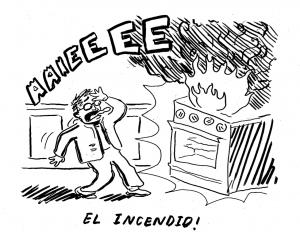 Un fuego en la cocina