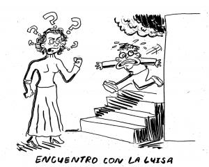 La Luisa  parecía muy preocupada y preguntó a Mano qué había pasado y porque olía tanto a humo.