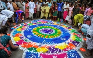 An example of a Hindu mandala. This one is being made out of different colored sand