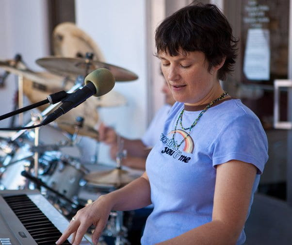 Carrie Ferguson playing her keyboard