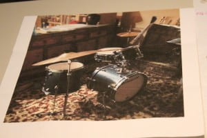 Picture of the drum kit the little girl got