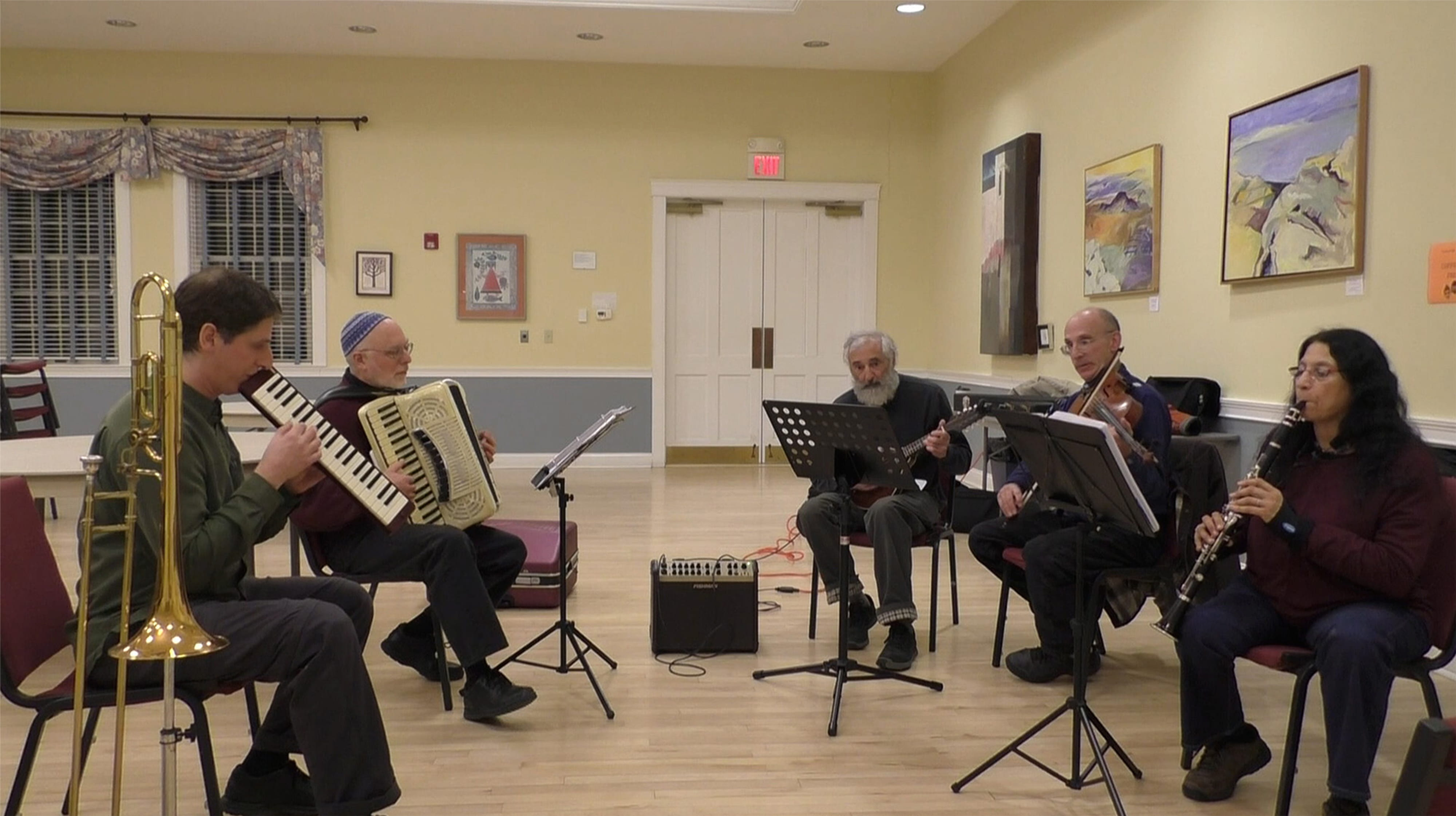 Klezmer band practicing at Amherst JCA