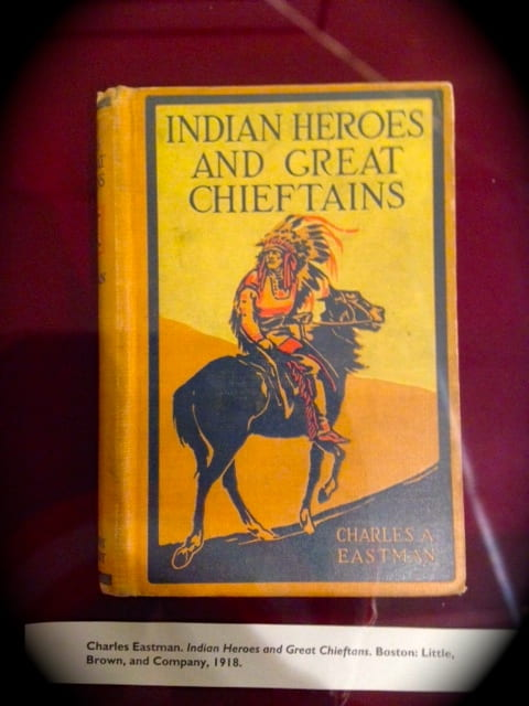 "This is a photo of Charles Eastman's ""Indian Heroes and Great Chieftains,"" one of the many literary works by Charles Eastman in Amherst's Kim Wait-Eisenberg Collection in Archives and Special Collections."
