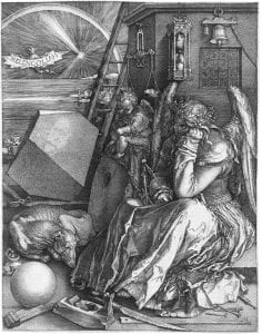 "Dramatic renditioning of me in the archives, puzzling over all the possible ways I might formulate a research question... (Albrecht Dürer's 1514 engraving ""Melencolia I"")"