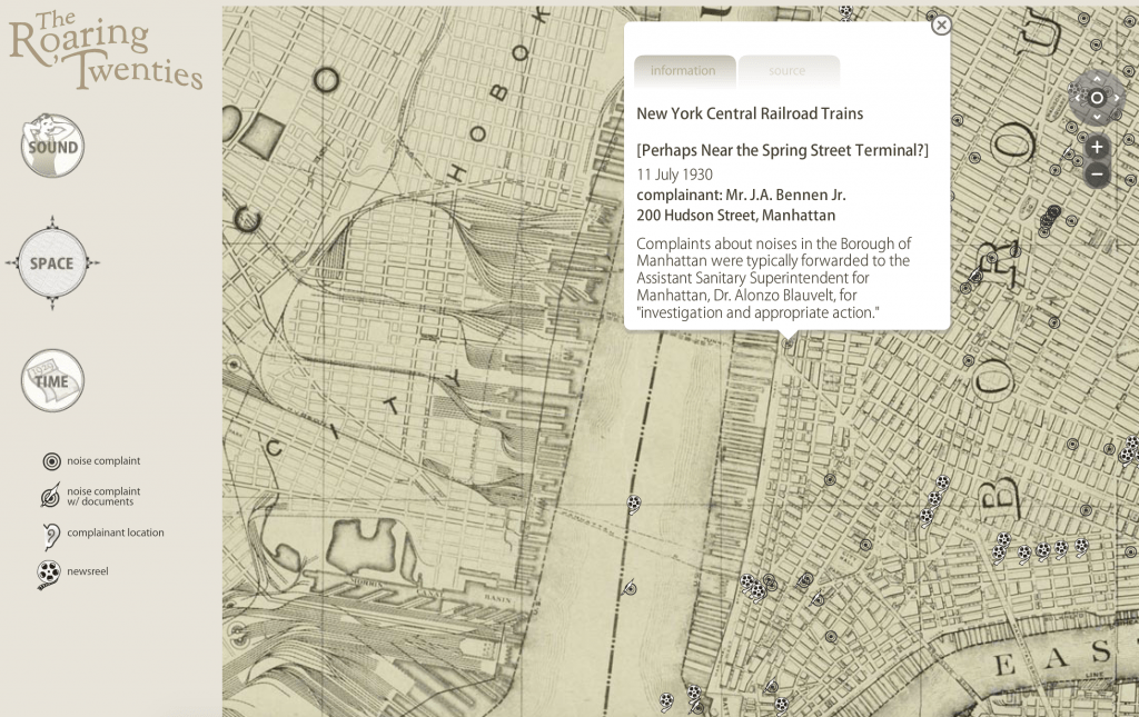 Screenshot from The Roaring Twenties: An Interactive Exploration of the Historical Soundscape of New York City, a website that utilizes GIS mapping to create an interactive map experience.