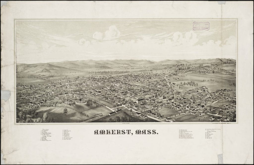 "Burleigh, L. R. (Lucien R.), and Burleigh Litho. ""Amherst, Mass."" Map. 1886. Norman B. Leventhal Map Center, https://collections.leventhalmap.org/search/commonwealth:x633fd88x (accessed July 07, 2017)."