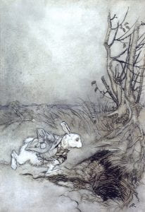 Notice the empty sky adding atmosphere and emphasizing the rabbit rather than detracting from the whole.