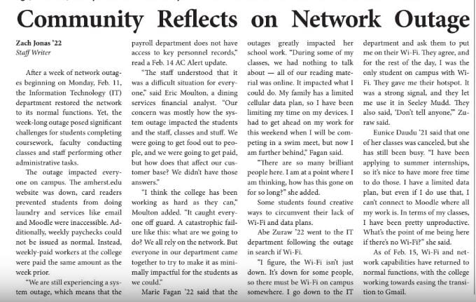 Amherst Student newspaper article writes about community's reflection about a network outage