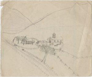 pencil drawing of house and barn
