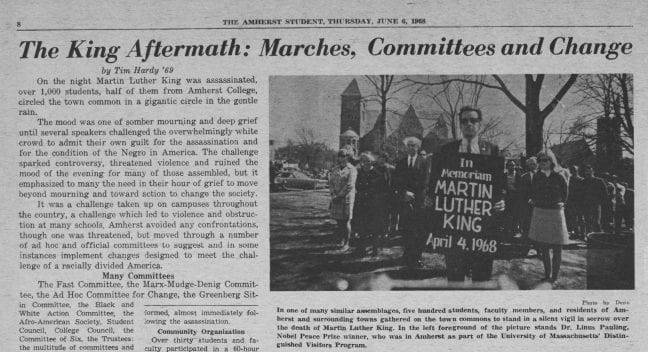 "Partial view of a page of the Amherst Student newspaper from June 6, 1968, featuring the headline ""The King Aftermath: Marches, Committees and Change"""