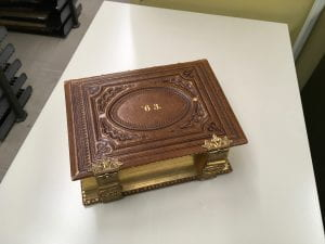 Class Album 1863, closed to show embossed leather cover and gilt pages