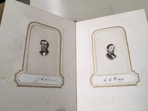 Class Album 1863, interior image of two portraits
