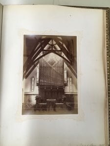 Photograph of the interior of Stearns Church from 1874 Class Album
