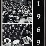 front cover of the 1969 Olio including a picture of students sitting on a lawn and a band playing at Commencement