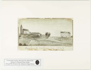 A drawing of fields, horse sheds, South College, and the old church in 1821