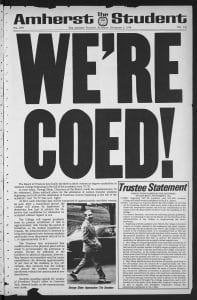 "Front page of November 2 1974 Amherst Student with ""We're Coed!"" headline"