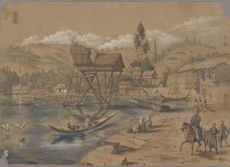"""Henry Van Lennep, sketch: """"View of Bebek,"""" Constantinople, 1851"""