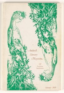 front cover of 1959 Amherst Literary Magazine with drawings of a green woman growing from tree roots