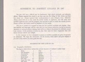 Amherst College admissions report to secondary schools, 1947