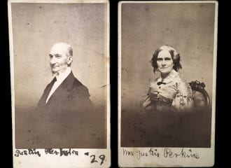 photographs of Justin and Charlotte Bass Perkins