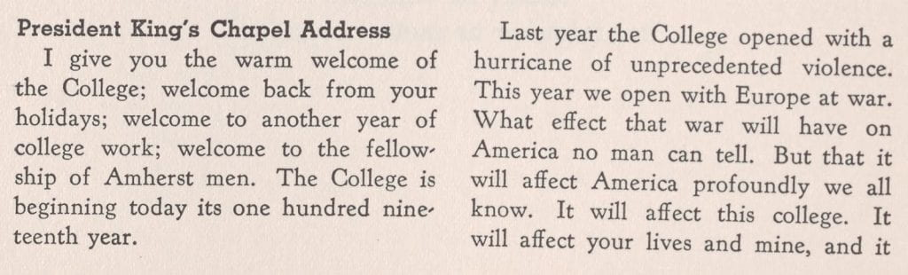 Excerpt from President King's 1939 welcome address in Johnson Chapel