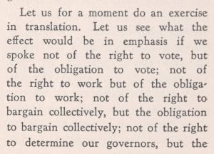 Excerpt of King's discussion of rights vs. obligations