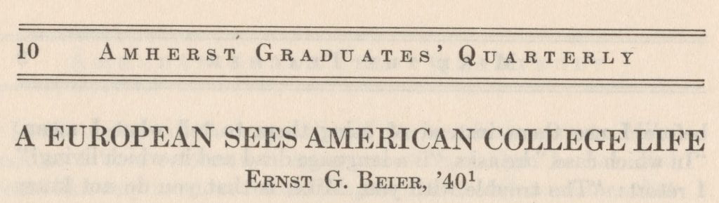 A European Sees American College Life publication header