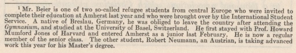A biographical footnote about Mr. Beier